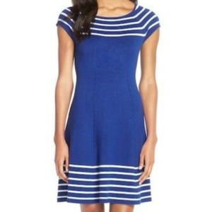 NWOT-ELIZA J Stripe Knit Flared Dress